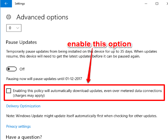 enable the highlighted option