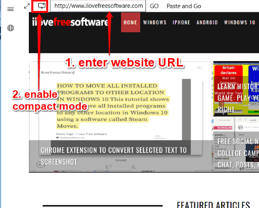 enter website url and enable compact mode