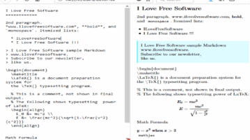 free markdown editor with latex and math formula support