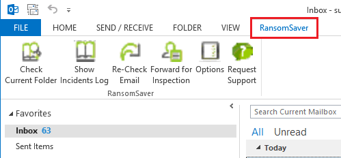 ransomsaver tab on outlook interface