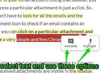 select text and use annotate and highlight options