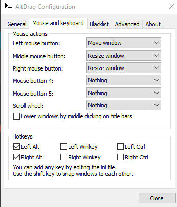 set mouse actions and hotkeys