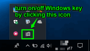 turn on or off windows key using software tray icon