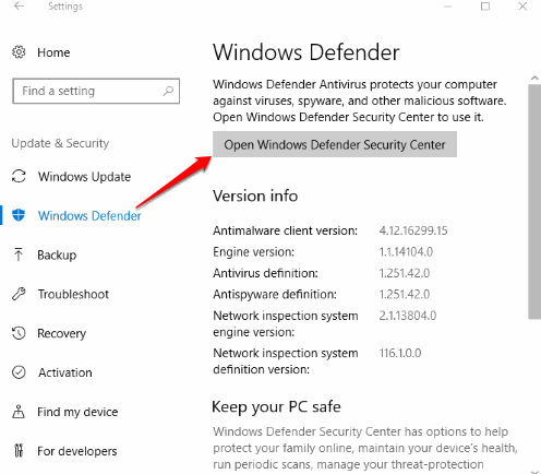 use open windows defender security center button