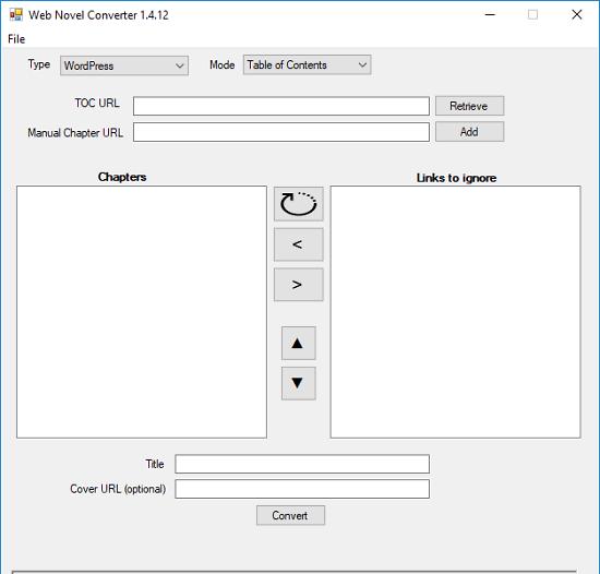 web novel converter interface