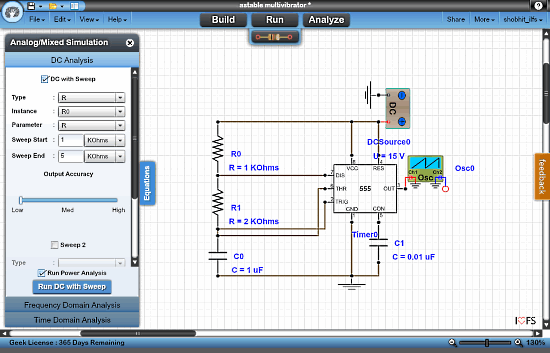 electronic circuit simulator