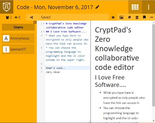 CryptPad- interface