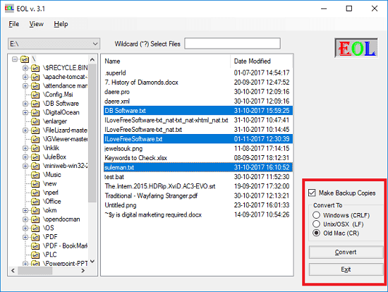 EOL seelct files and start conversion