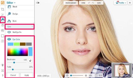 online eye color changer