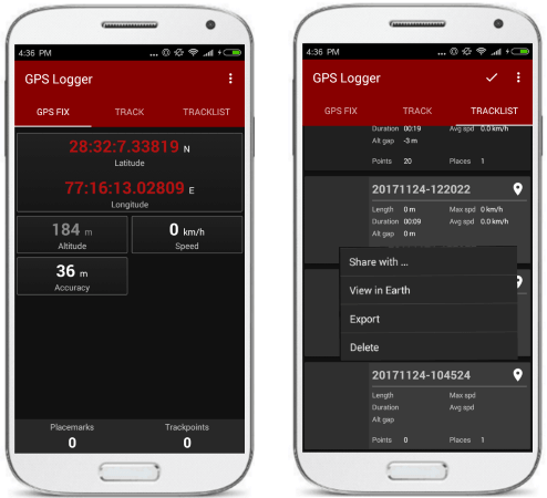 GPS logger for Android to track your position