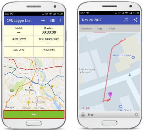 GPS logger lite to track your gps position