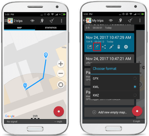 Geo tracker for Android to log gps