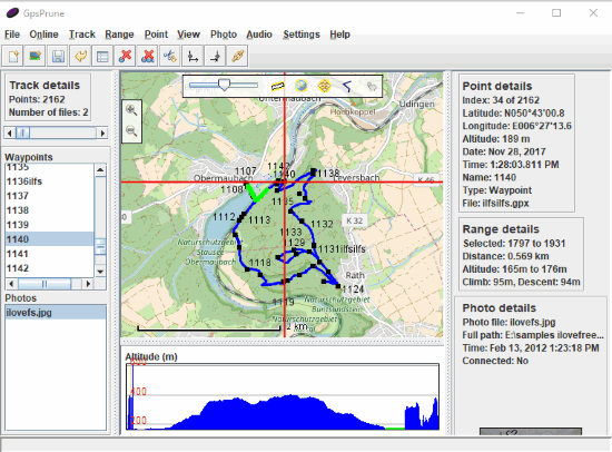 GpsPrune- interface