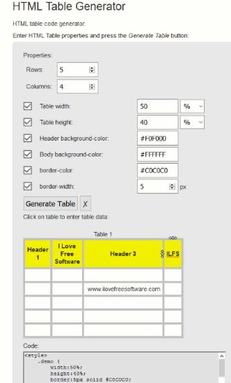 HTML Table Generator- interface