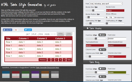 HTML Table Style Generator