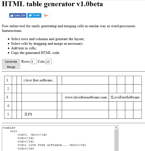 HTML table generator interface