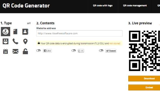 QR code generator interface