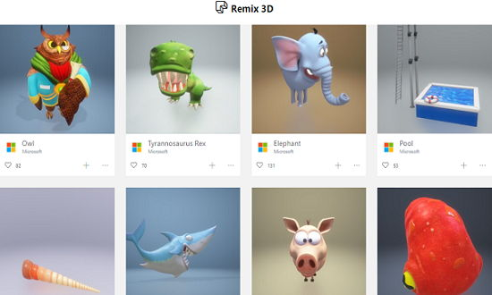 Search, Download, Share 3D Objects Windows 10 Remix 3D