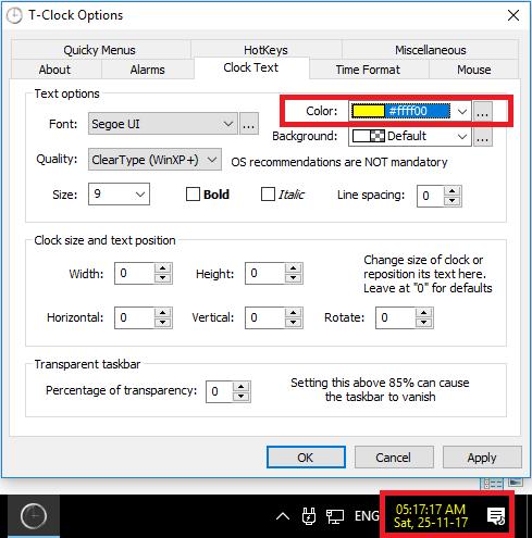 T-Clock Change system clock color