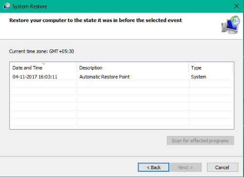 a system restore point created automatically at startup in windows 10