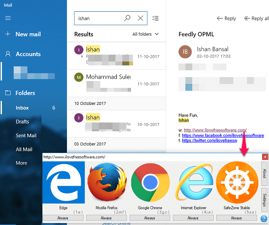 browser select url to open in desired browser