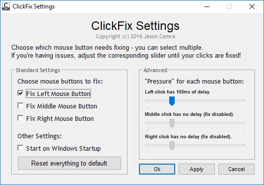 click fix settings