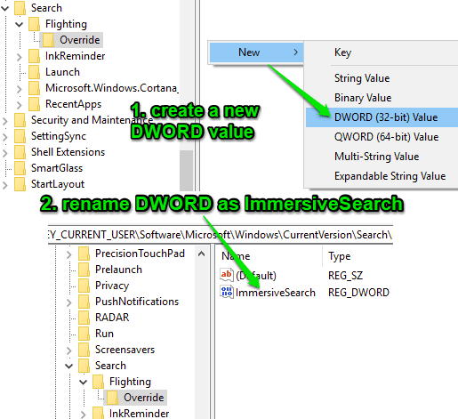 create immersivesearch dword value