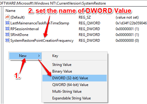 create systemrestorepointcreationfrequency dword value