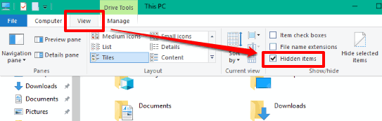 enable hidden files option in file explorer