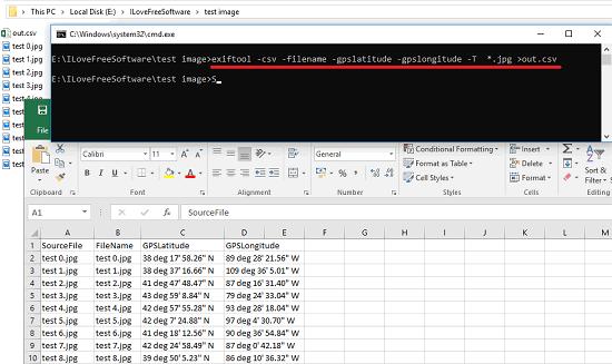 exiftool export gps data from photos