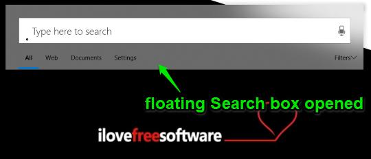 floating search box opened in windows 10
