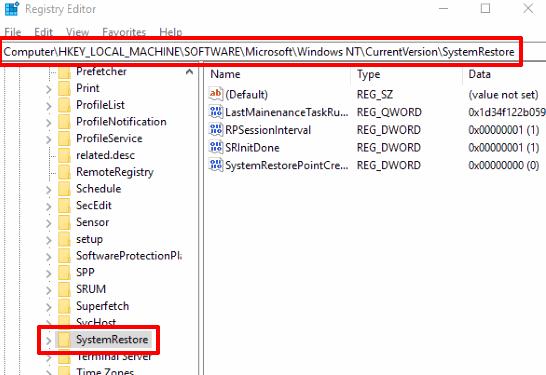 go to systemrestore registry key
