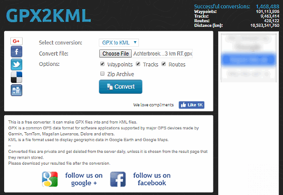 5 Free Websites To Convert GPX To KML Online