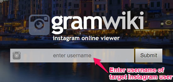 gramwiki enter username of instagram user