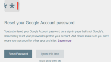 password alert for google account password
