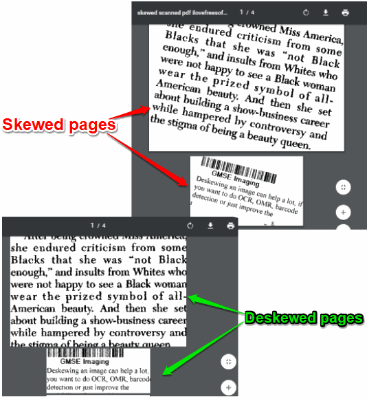 pdf files deskewed automatically