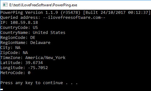 powerping ip to location via hostname