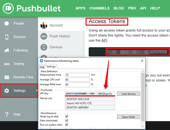 pushbullet API configuration
