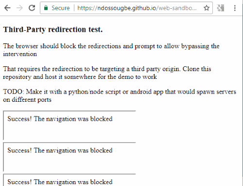 redirection blocked