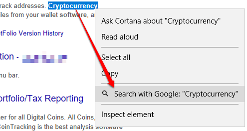 right click menu showing search with google option