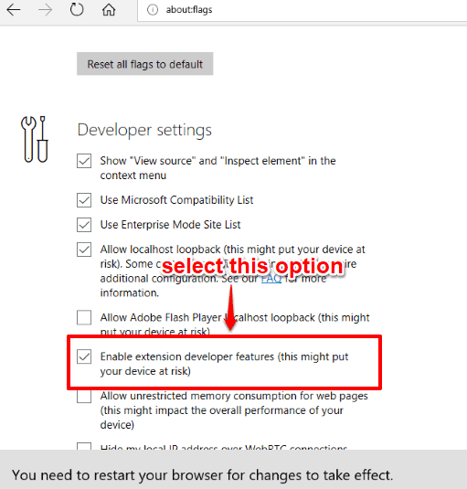 select enable extension developer features option