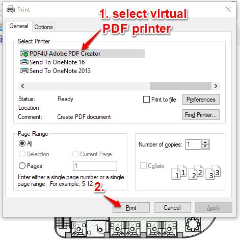 select virtual pdf printer and generate output pdf