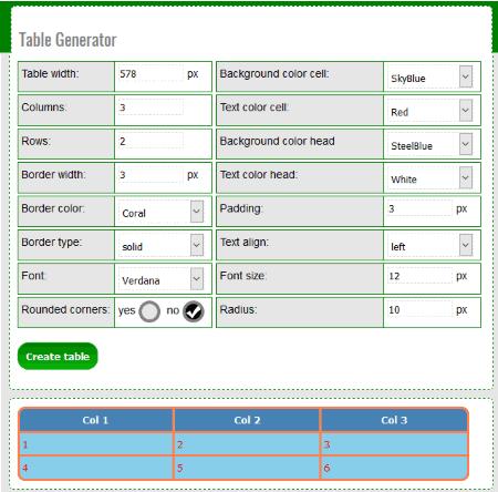 table generator homepage