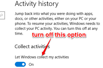 turn off let windows collect my activities option