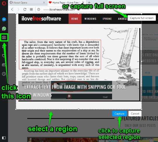 use snapshot icon to capture screenshot in opera