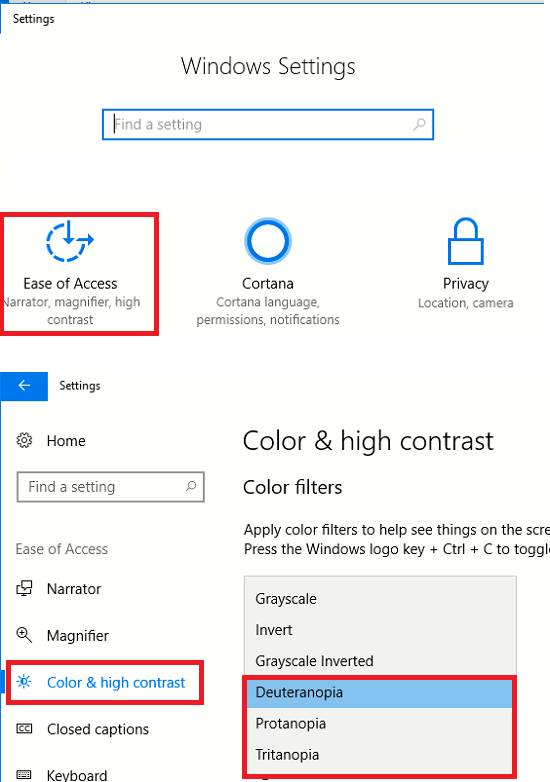windows 10 color blindness filters