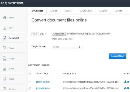 Aconvert website interface