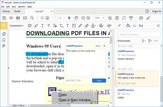 Adobe Acrobat Reader DC XFDF reader