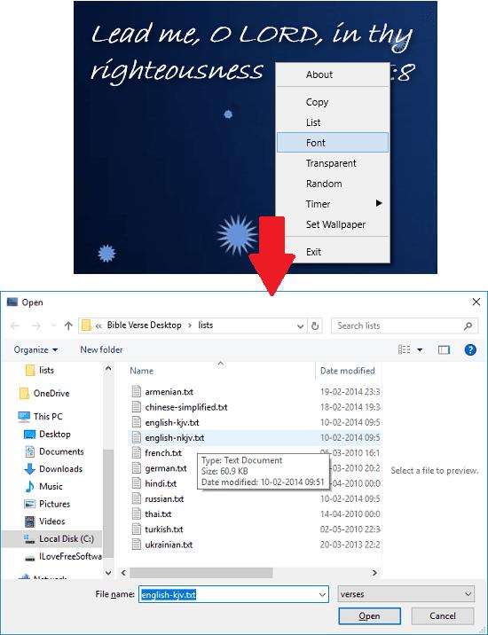 Bible Verse Desktop language