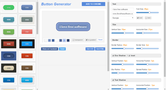CSS Button Generator interface